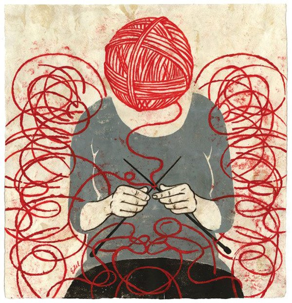 Would knitting tie my ego into knots, or gently unravel it?  Illustration by Edel Rodriguez.